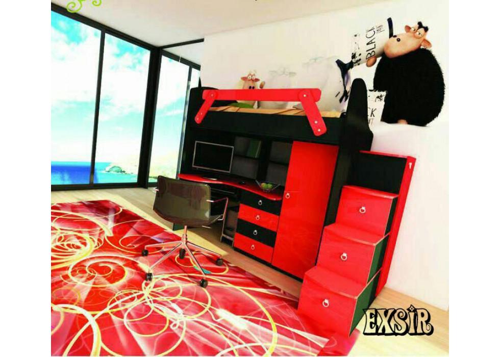 سرویس تخت و کمد جوان دو طبقه مدل اکسیر