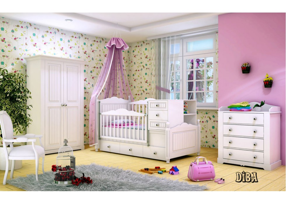 سرویس تخت و کمد نوزاد نوجوان مدل دیبا |