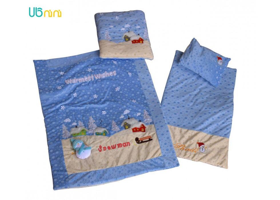 سرویس خواب نوزاد شادی-Shadi طرح آدم برفی توپی آبی آسمانی
