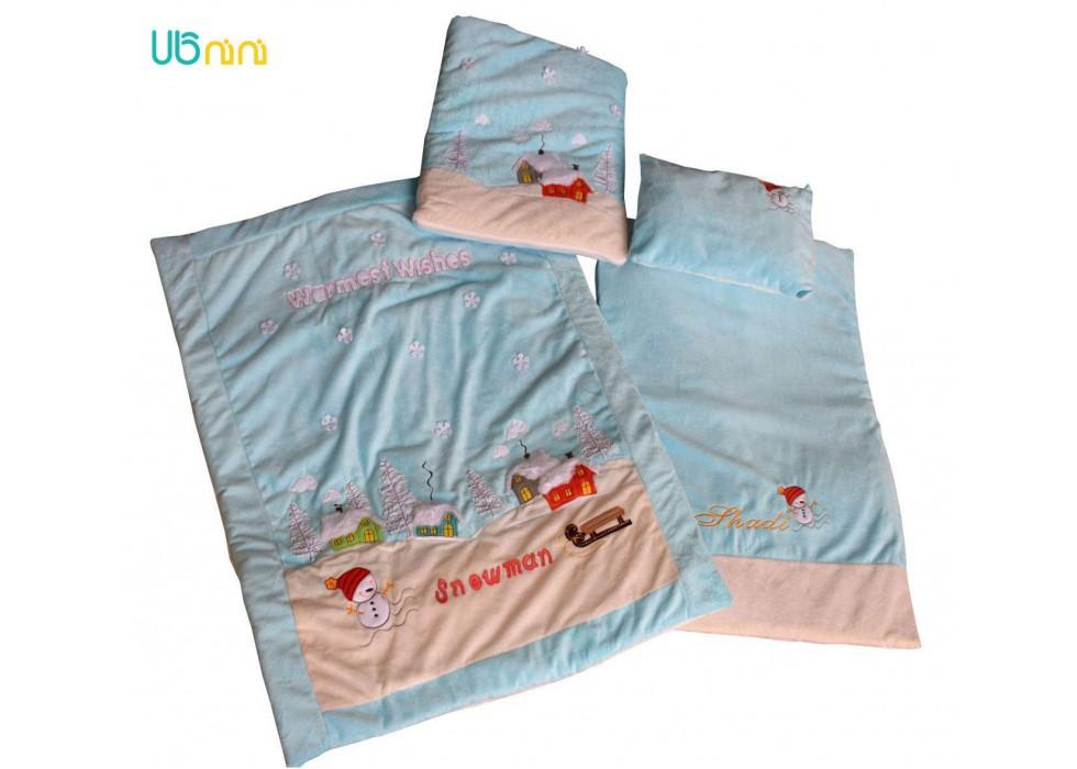 سرویس خواب نوزاد شادی-Shadi طرح آدم برفی آبی کم رنگ