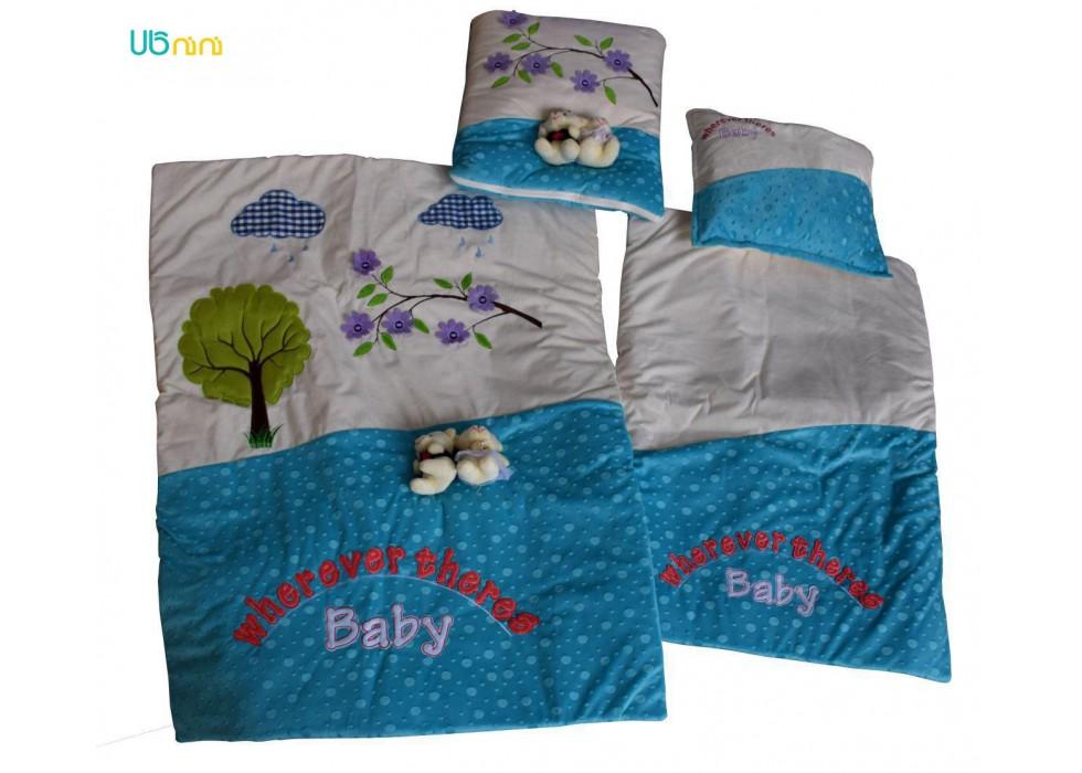 سرویس خواب نوزاد شادی-Shadi طرح عروسکی آبی فیروزه ای