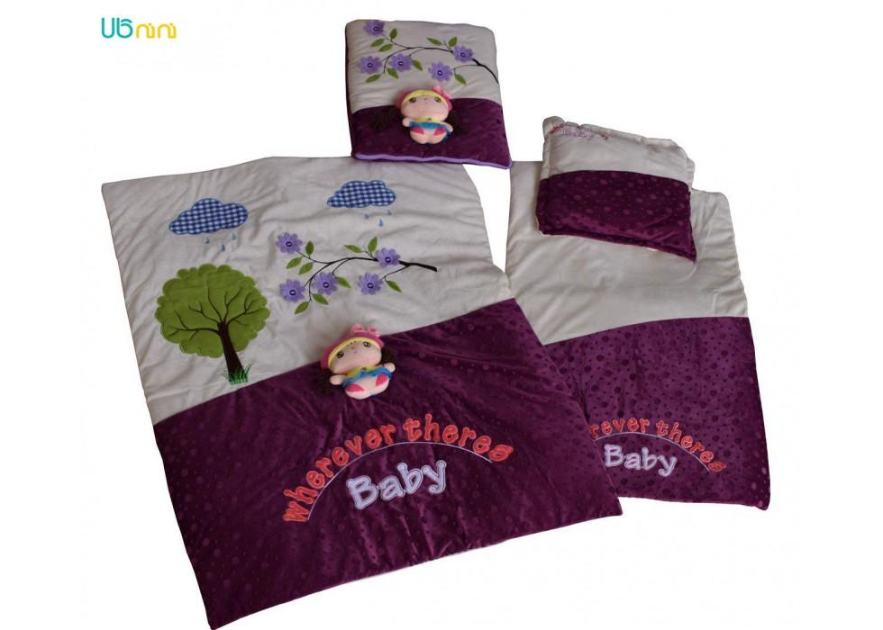 سرویس خواب نوزاد شادی-Shadi طرح عروسکی بادمجونی