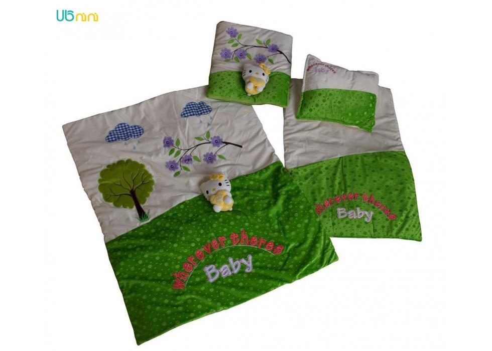 سرویس خواب نوزاد شادی-Shadi طرح عروسکی سبز چمنی