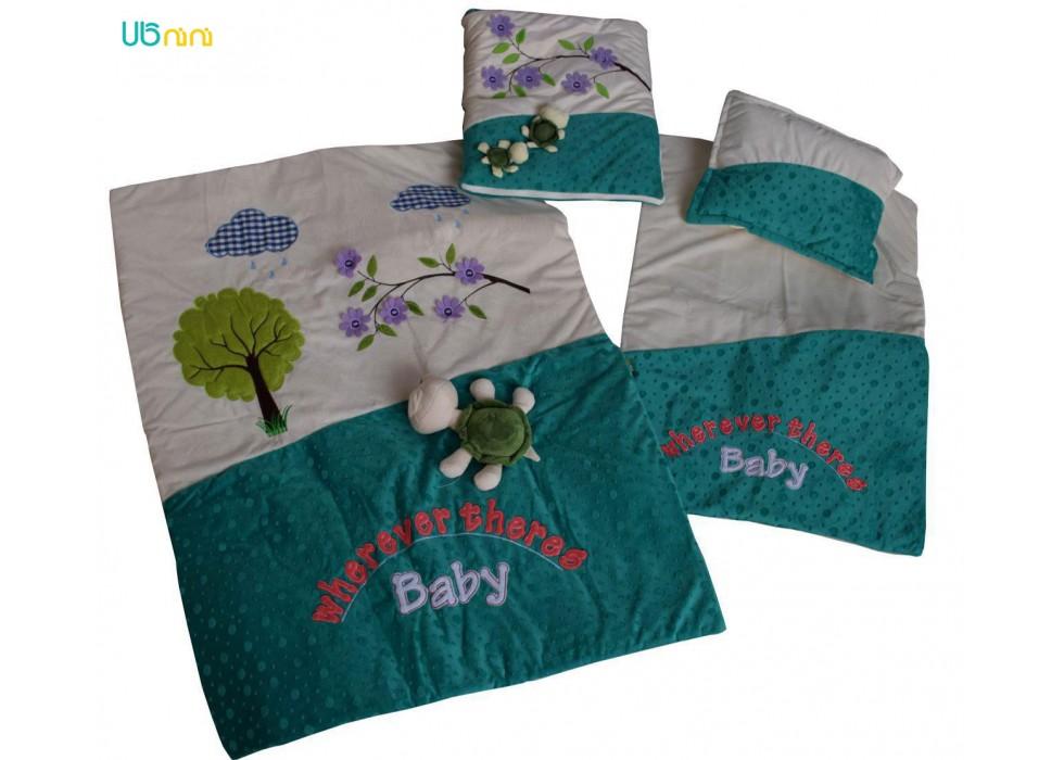 سرویس خواب نوزاد شادی-Shadi طرح عروسکی سبز زیتونی