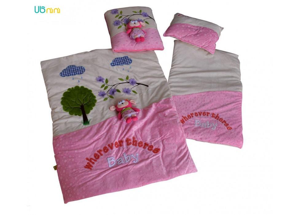 سرویس خواب نوزاد شادی-Shadi طرح عروسکی صورتی