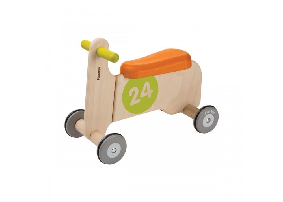 چهار چرخه چوبی  نارنجی  پلن تویز  planToys کد 3476