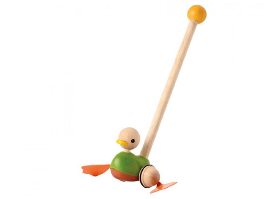 اردک     پلن تویز  planToys _ دسته چوبی،  سبز-نارنجی