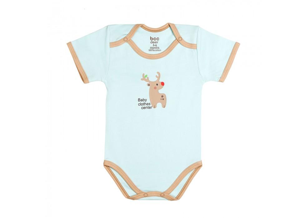 بادی آستین کوتاه نوزاد بی سی سی - BCC طرح گوزن-Deer