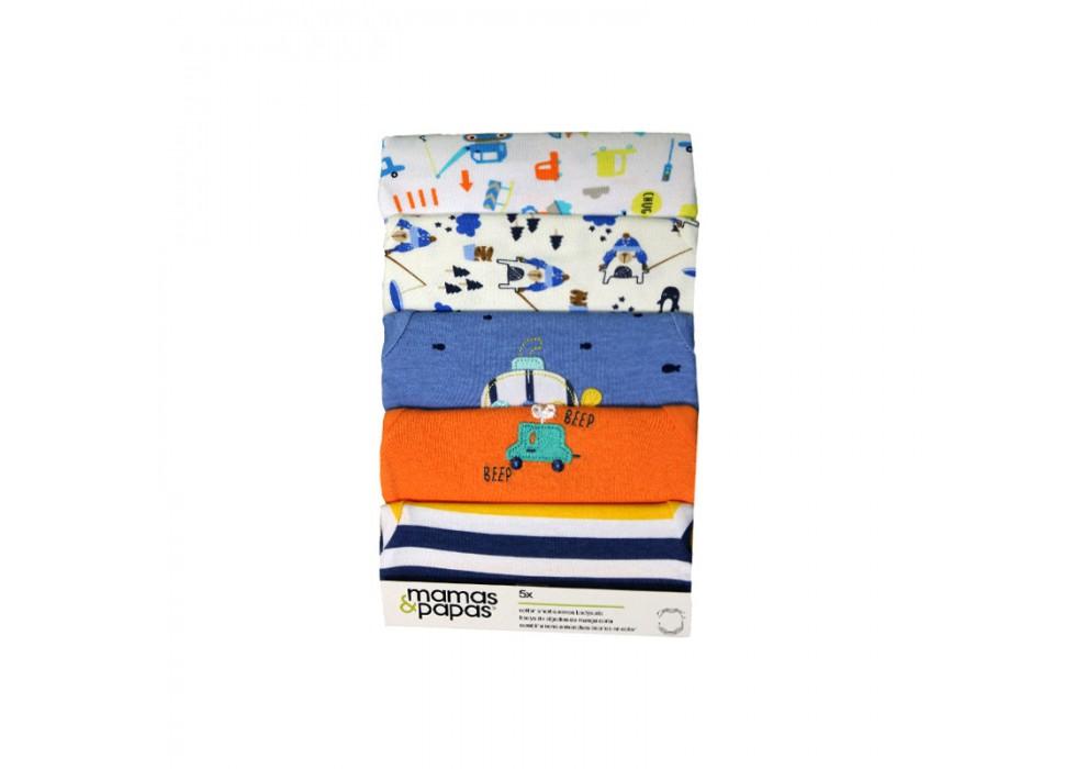 ست بادی 5 عددی زیر دکمه دار آستین کوتاه  ماماز پاپاز  مدل ماهی  mamas&papas _ 000078
