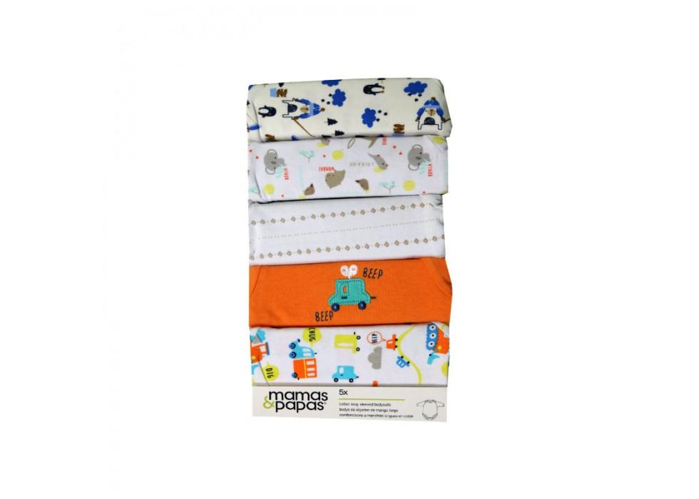 ست بادی 5 عددی  زیر دکمه دار آستین بلند ماماز پاپاز  مدل طرح لوزی و نقطه   mamas&papas _ 000071
