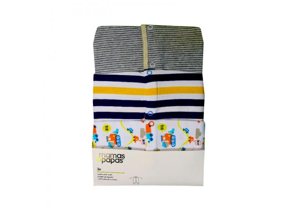 سرهمی آستین بلند 3 عددی   ماماز پاپاز  مدل راه راه پهن سورمه ای و زرد  mamas&papas _ 000051