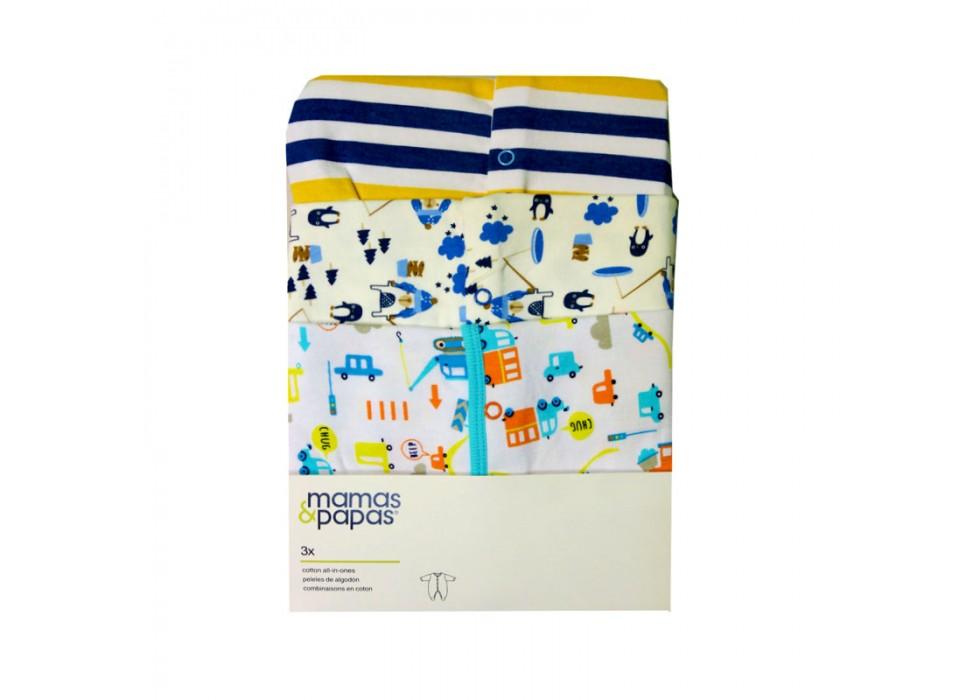 سرهمی آستین بلند 3 عددی   ماماز پاپاز  مدل  سگ و ابر و کاج آبی     mamas&papas _ 000039