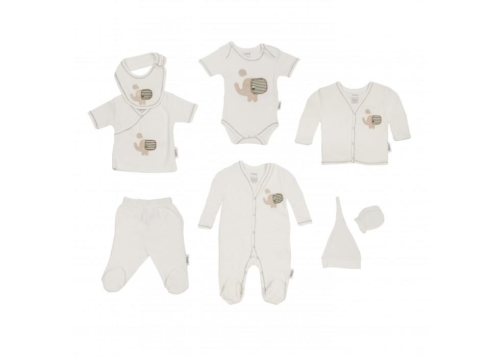 ست لباس 8 تکه نوزادی طرح فیل کرم برند ORGANIX