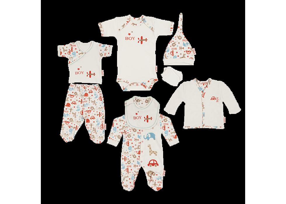 ست لباس 8 تکه نوزادی طرح سافاری  برند ORGANIX