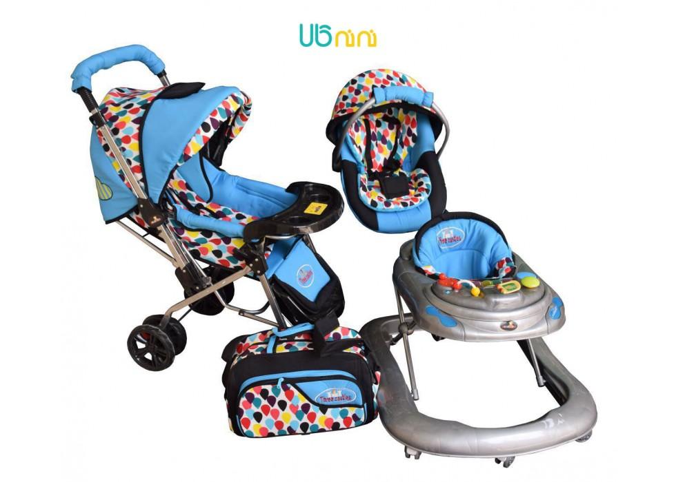 سرویس 4 تکه کالسکه نوزاد شادی-Shadi مدل اشکی آبی فیروزه ای مشکی