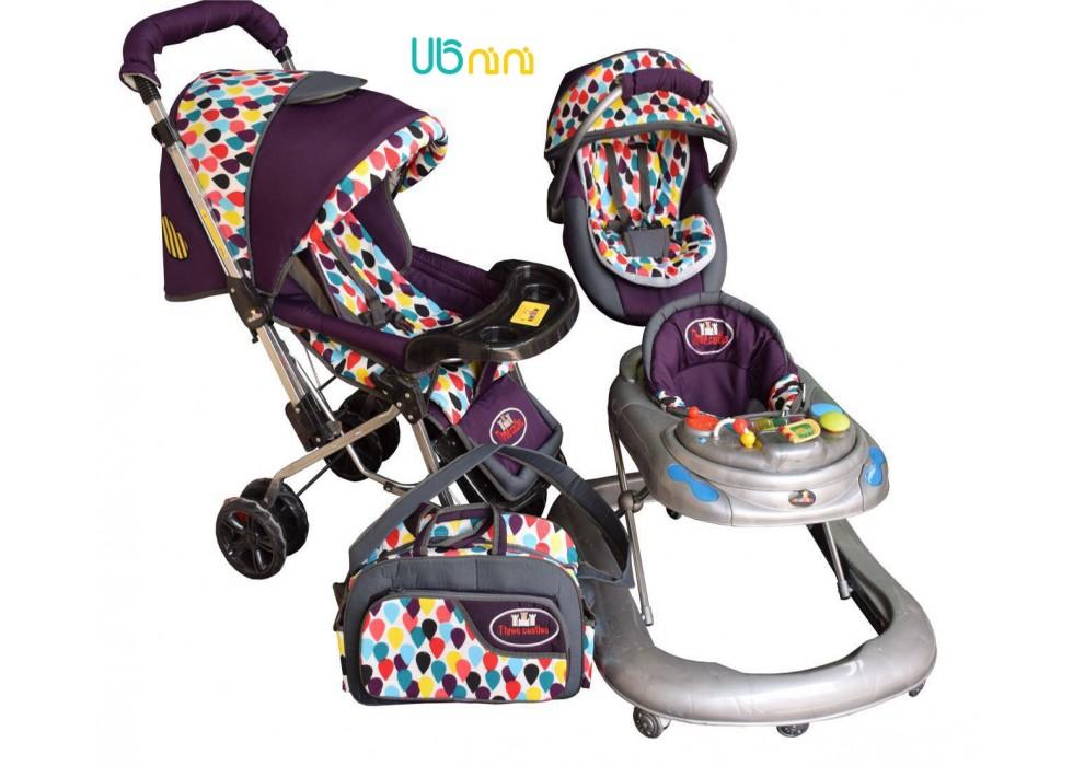 سرویس 4 تکه کالسکه نوزاد شادی-Shadi مدل اشکی بادمجانی