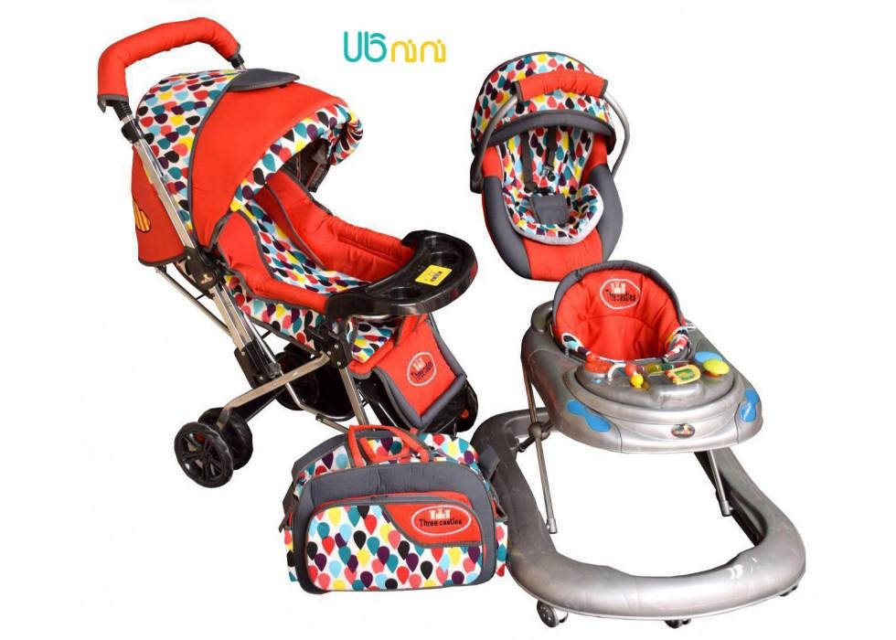 سرویس 4 تکه کالسکه نوزاد شادی-Shadi مدل اشکی قرمز