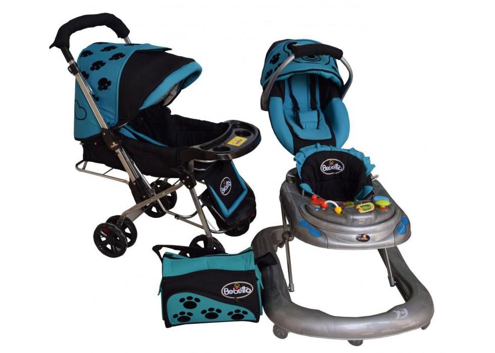 سرویس 4 تکه کالسکه نوزاد شادی-Shadi مدل ببتو آبی فیروزه ای مشکی