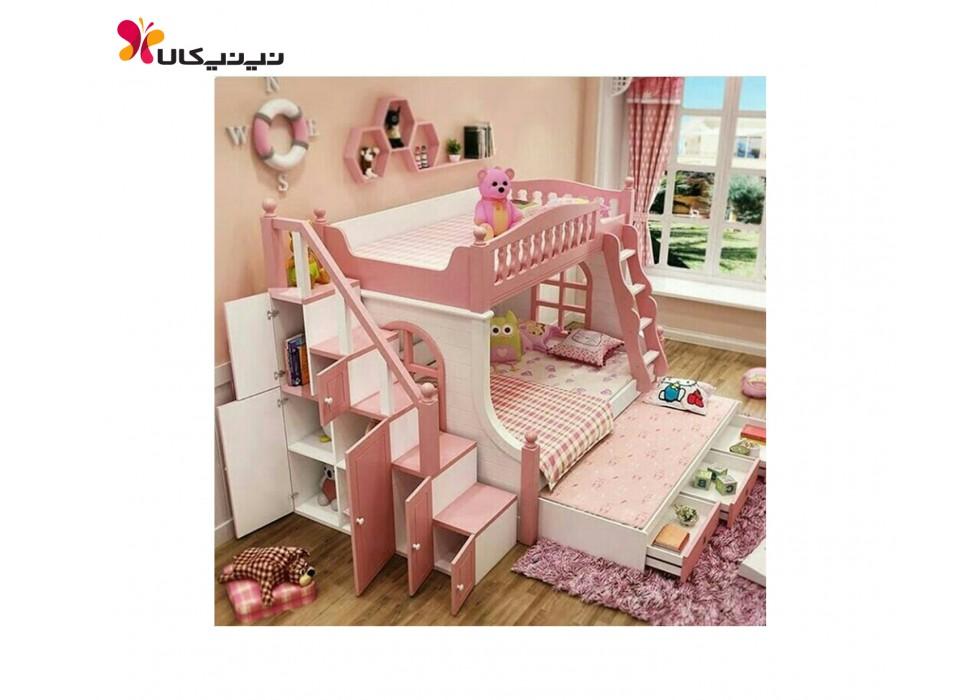 تخت دو طبقه نوزاد و نوجوان آمیسا مدل شازده کوچولو