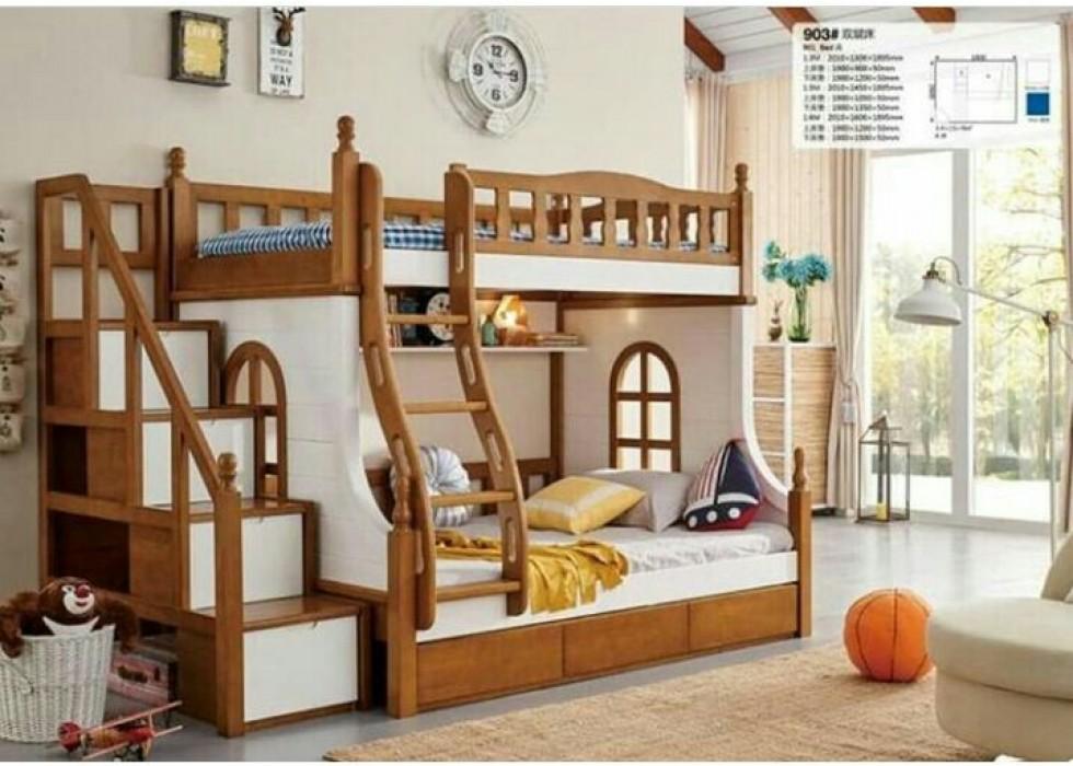 تخت دو طبقه نوزاد و نوجوان آمیسا مدل سلطان کوچولو