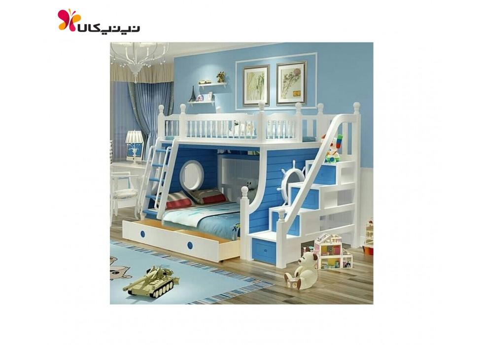 تخت دو طبقه نوزاد و نوجوان آمیسا مدل کاپیتان