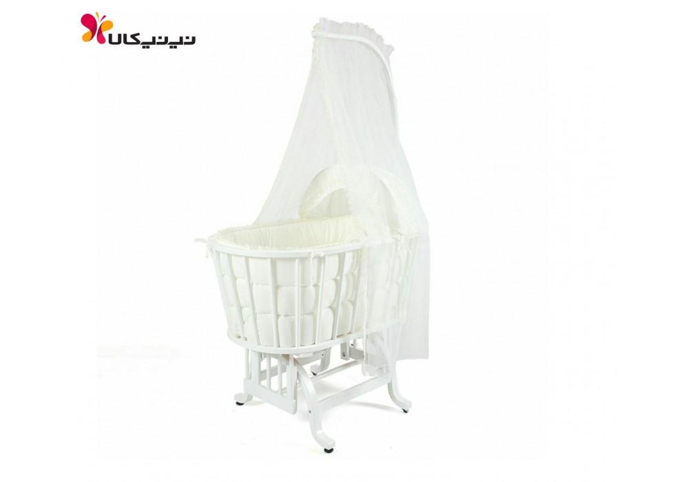 گهواره چوبی نوزاد ایرانی آمیسا-Amisa رنگ سفید