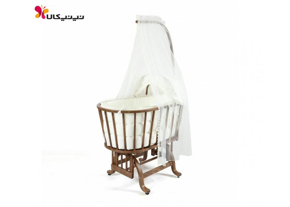 گهواره چوبی نوزاد ایرانی آمیسا-Amisa رنگ قهوه ای