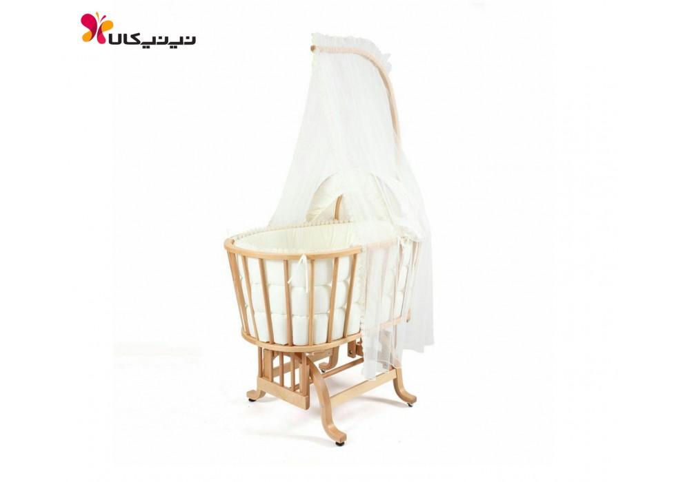 گهواره چوبی نوزاد ایرانی آمیسا-Amisa رنگ چوب