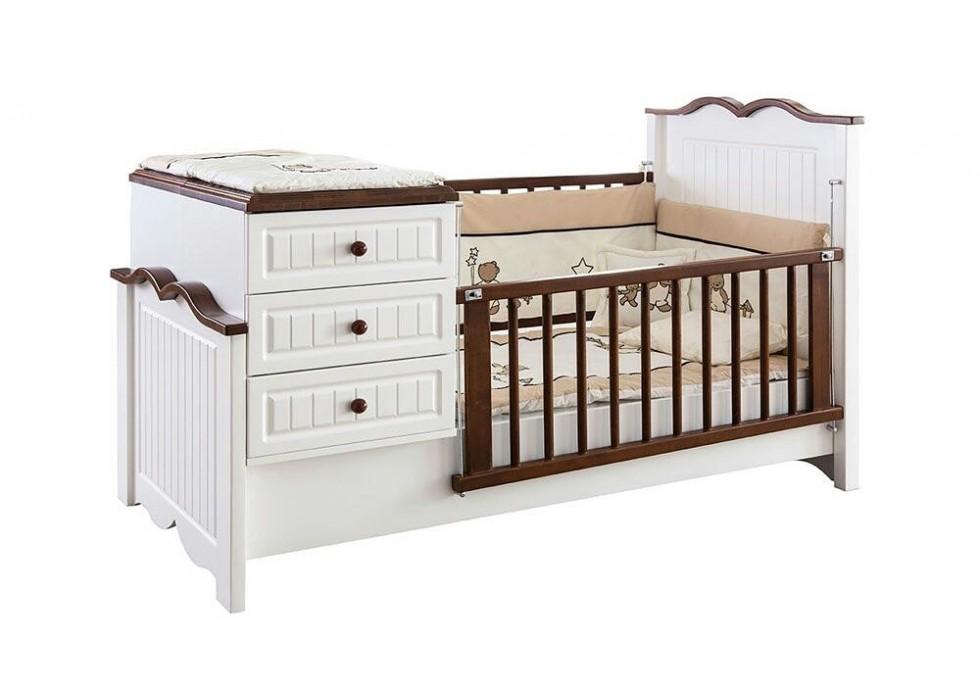 تخت دو منظوره نوزاد و نوجوان آمیسا مدل چوبین |