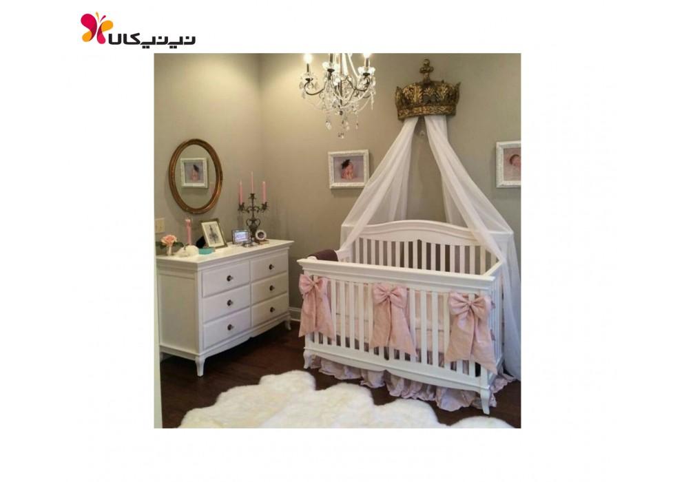 تخت و دراور چوبی نوزاد آمیسا مدل آرمیس