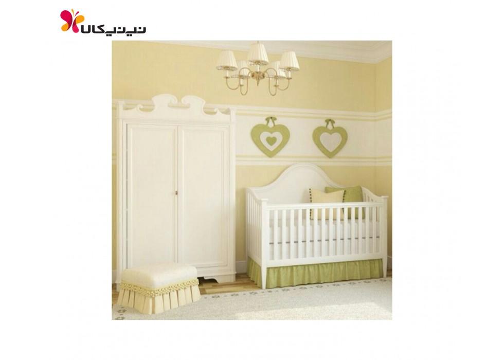 سرویس تخت و کمد چوبی نوزاد آمیسا مدل مایسا