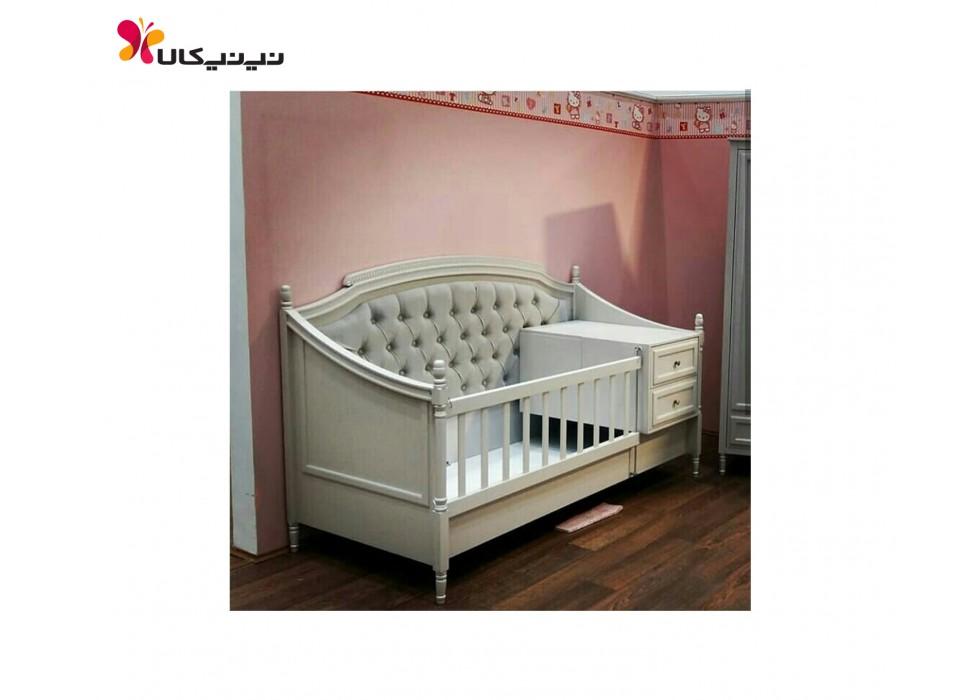 تخت چوبی نوزاد و نوجوان آمیسا رمانتیک