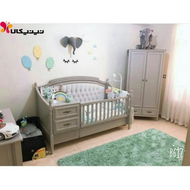 سرویس خواب دو تکه چوبی نوزاد نوجوان مدل رمانتیک