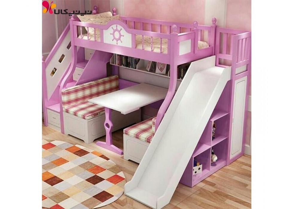 تخت دو طبقه کودک آمیسا مدل پرنیان