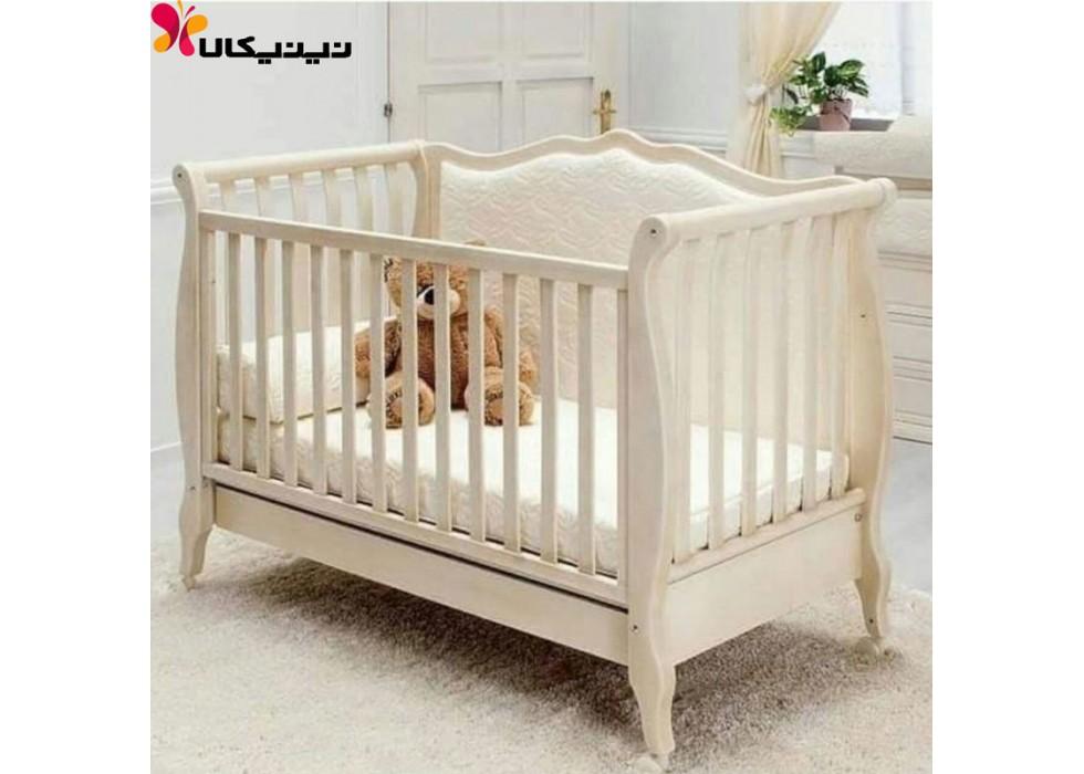 تخت چوبی نوزاد آمیسا مدل پاملا