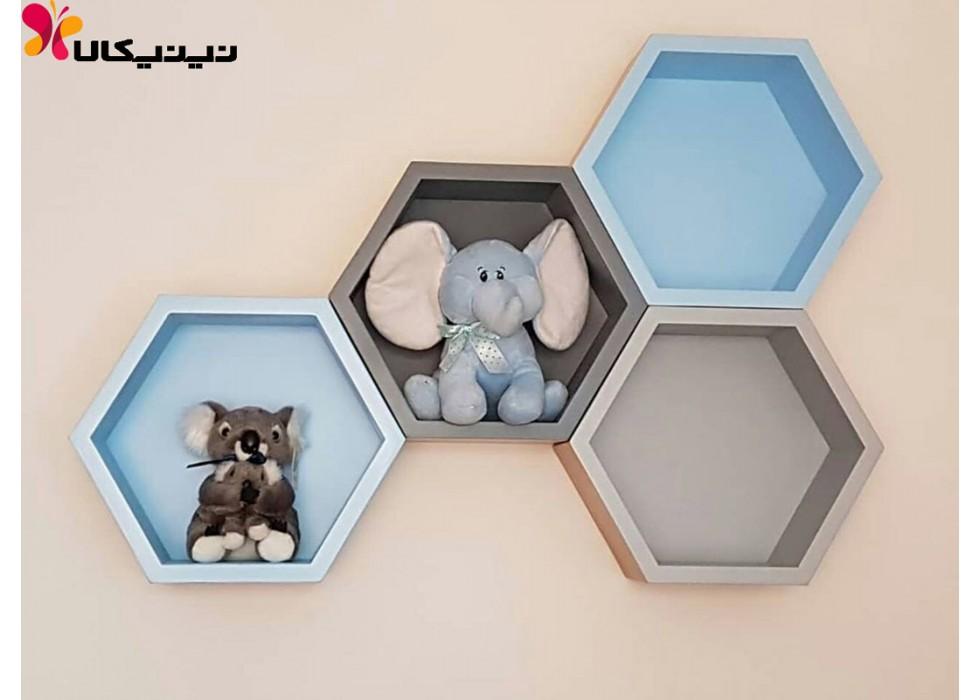 شلف و جاعروسکی اتاق کودک آمیسا مدل شش ضلعی