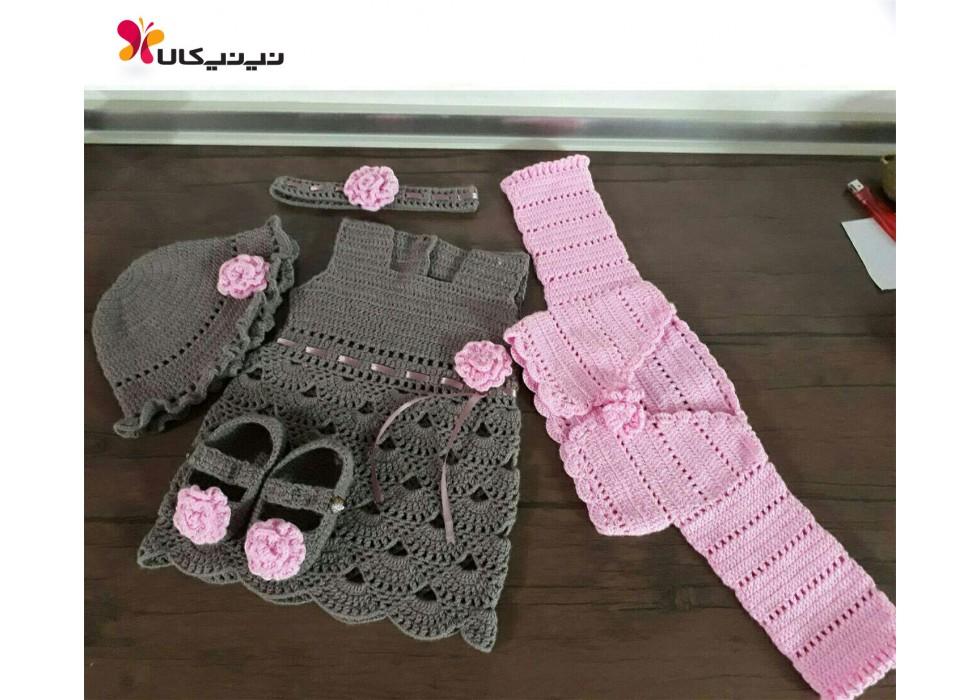 ست لباس بافتنی نوزاد برند زیبافت-Zibaft مدل دخترانه