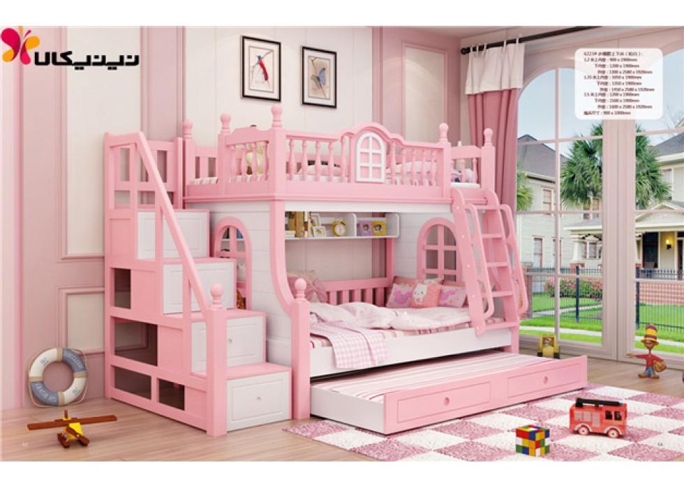تخت دوطبقه کودک آمیسا مدل ملورین