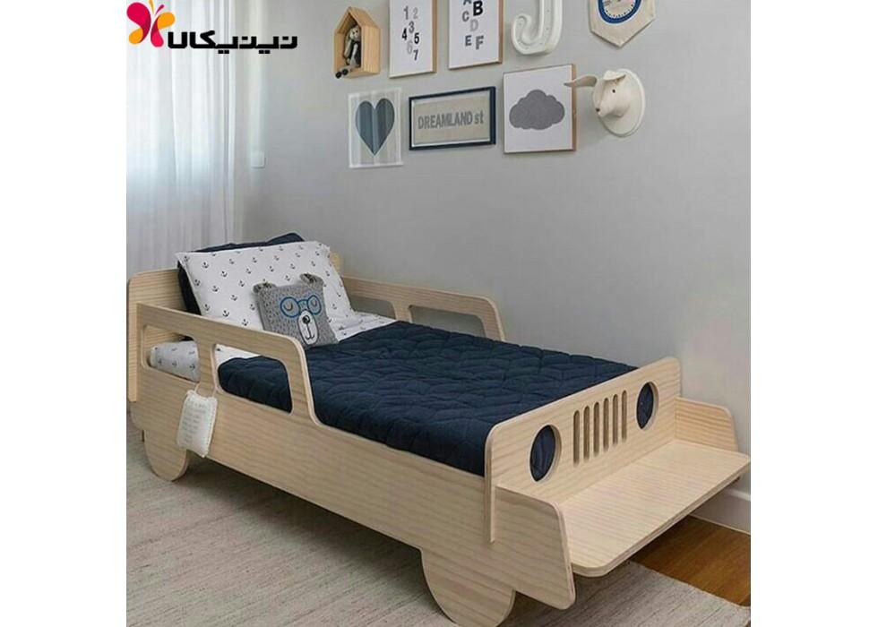 تخت چوبی کودک آمیسا مدل ماشین جیپ