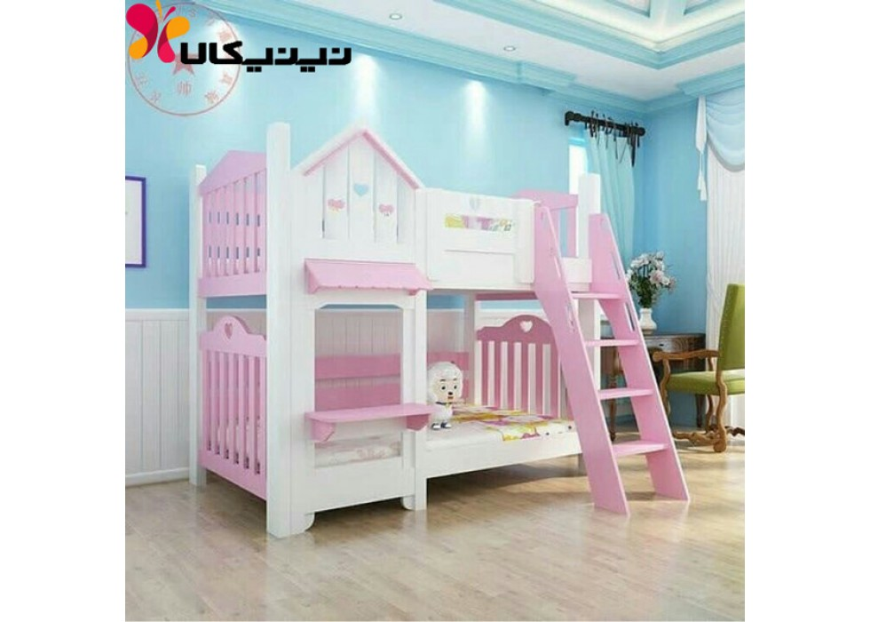 تخت دو طبقه نوزاد و نوجوان آمیسا مدل شاینا