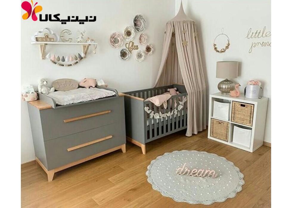 تخت و دراور نوزاد آمیسا مدل کارولین