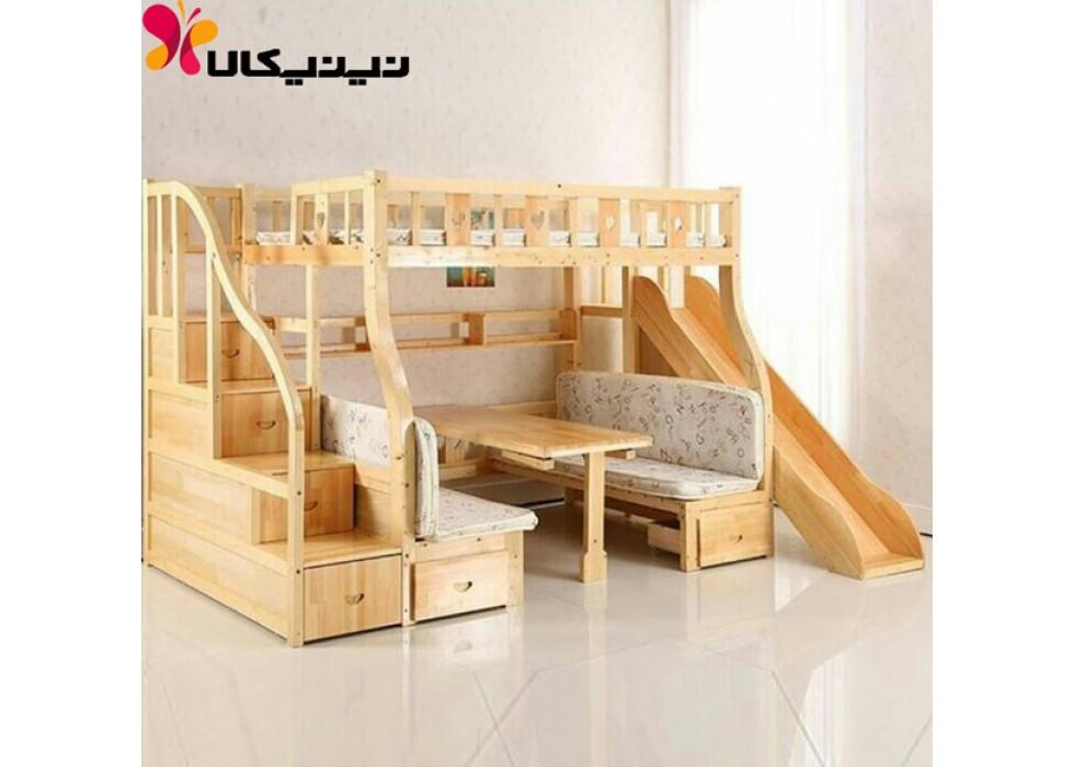 تخت دو طبقه کودک و نوجوان آمیسا مدل آتنا