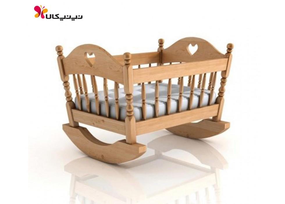 گهواره نوزاد چوبی آمیسا مدل فرازین