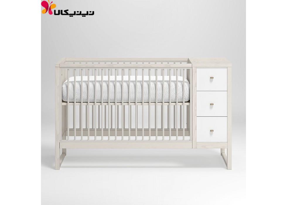 تخت خواب نوزاد آمیسا چوب مدل رومینا