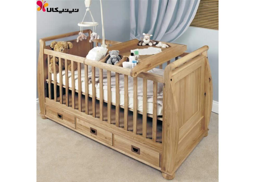 تخت خواب چوبی نوزاد آمیسا مدل تلما