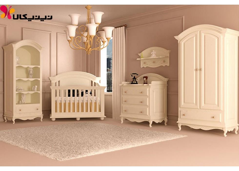 سرویس خواب نوزاد آمیسا چوب مدل ویکتوریا