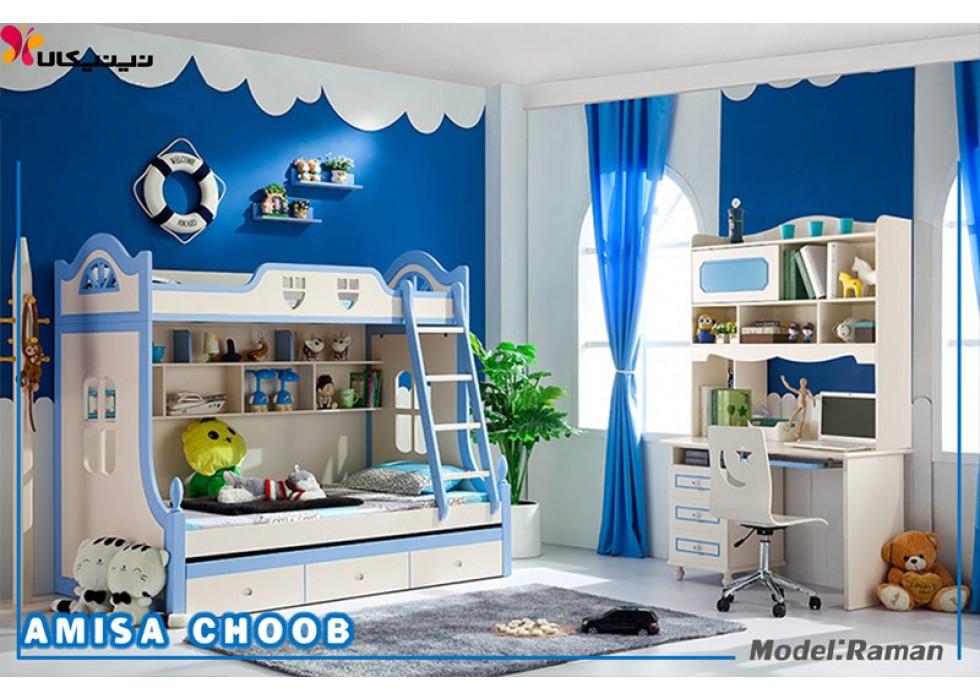 تخت خواب دو طبقه نوجوان آمیسا مدل رامان
