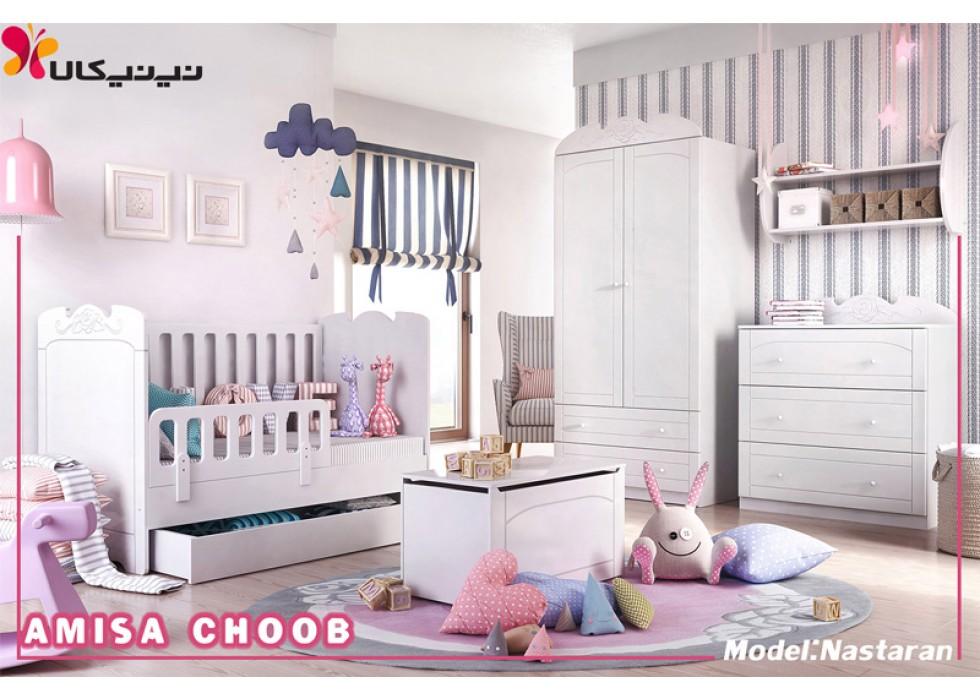سرویس خواب نوزاد آمیسا چوب مدل نسترن