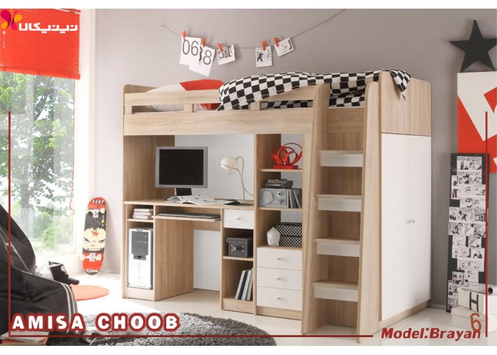 تخت خواب دو طبقه کودک و نوجوان آمیسا مدل برایان