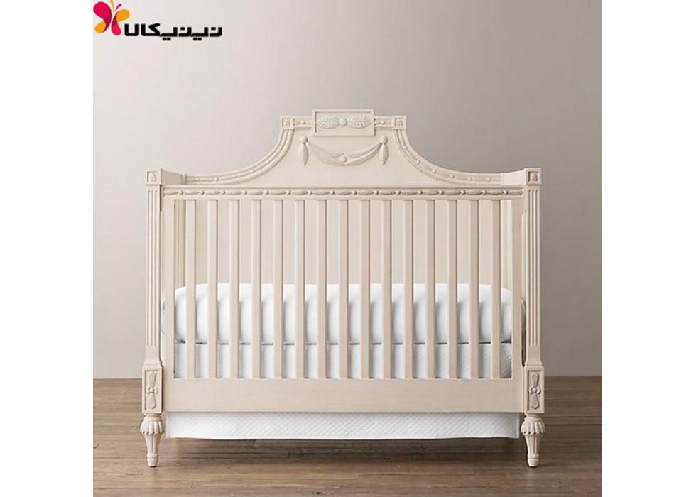 تخت خواب چوبی نوزاد آمیساچوب مدل بیتا